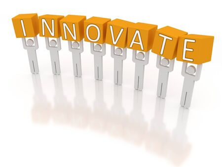 Figures holding the letters of the word innovate. Stock Photo