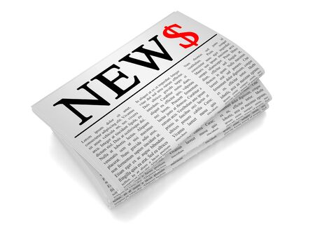 A newspaper isolated from white background showing dollar related news.
