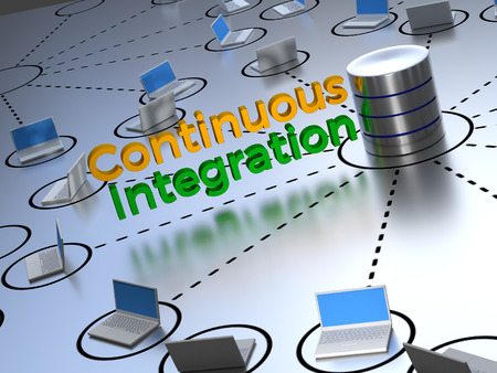 Continuous Integration text shown in the center of an abstract network next to a source control database.