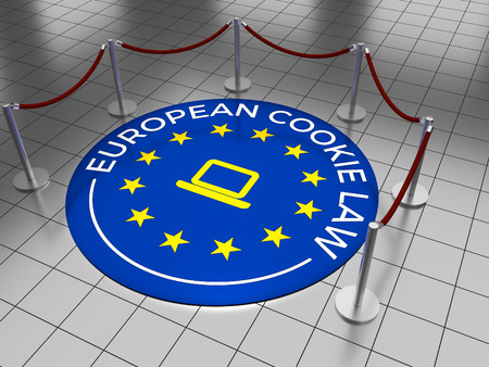EU: An emblem on a tiled floor with the text: European Cookie Law