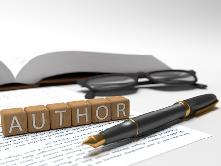 publishes: Author - dices containing the word author, a book, glasses and a fauntain pen.