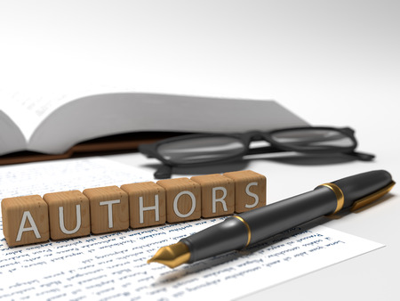 publishes: Authors - dices containing the word authors, a book, glasses and a fauntain pen.