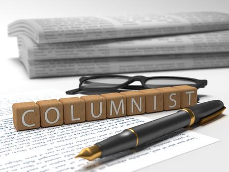 Columnist - dices containing the word columnist, a book, glasses and a fauntain pen. Stock Photo