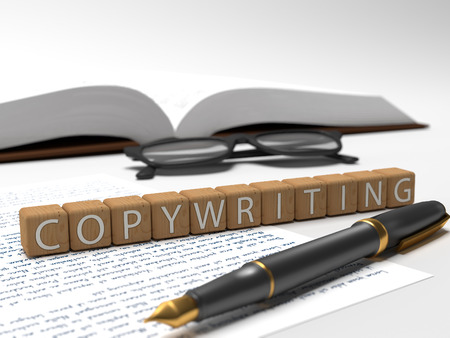 publishes: Copywriting - dices containing the word copywriting, a book, glasses and a fauntain pen.