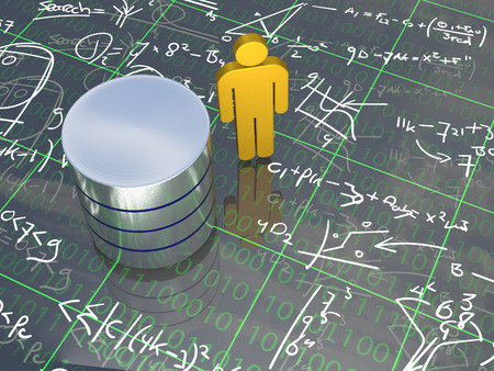Database Engineer - An abstract man standing next to a database surounded with formulas. Stock Photo - 41303084