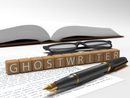 ゴースト ライター - 単語のゴースト ライター、本、眼鏡、fauntain pen を含むさいの目に切ります。 写真素材
