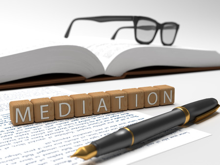 defendant: Mediation - dices containing the word mediation, a book, glasses and a fauntain pen. Stock Photo