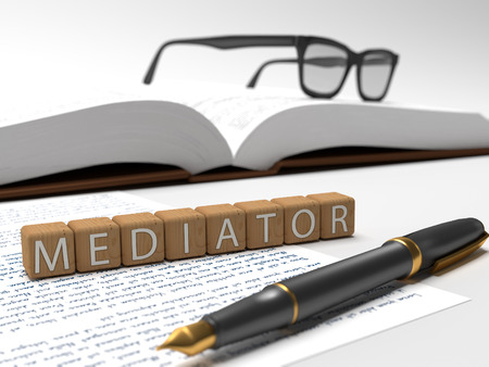 mediate: Mediator  - dices containing the word mediator, a book, glasses and a fauntain pen. Stock Photo