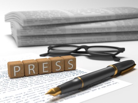 publishes: Press - dices containing the word press, a book, glasses and a fauntain pen.