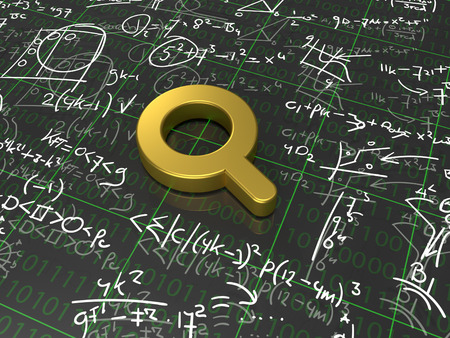 algorithm: Search Algorithm - A golden magnifying glass surrounded with formulas Stock Photo