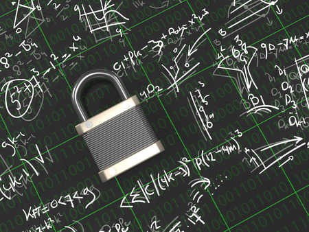 Security Expert / Specialist - A padlock surounded with formulas Stock Photo