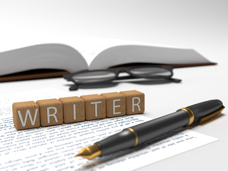 publicist: Writer - dices containing the word writer, a book, glasses and a fauntain pen. Stock Photo