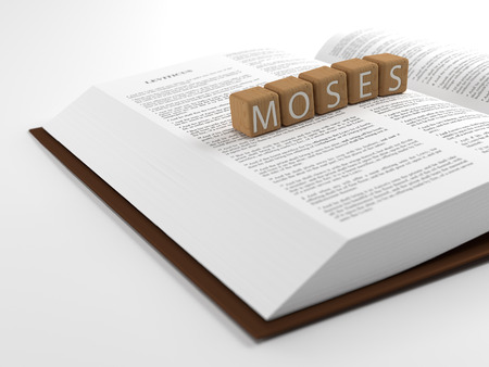 bible ten commandments: Moses and the Bible - The word moses layed on the bible. Stock Photo
