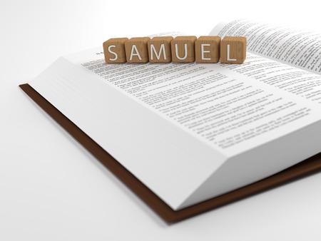 vangelo aperto: Samuel e la Bibbia - Il nome Samuel posizionati sulla parte superiore della Bibbia. Archivio Fotografico