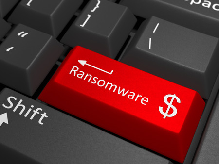 bug key: Ransomware key on keyboard - A red key with the text ransomware on a black keyboard combined with the dollar sign.