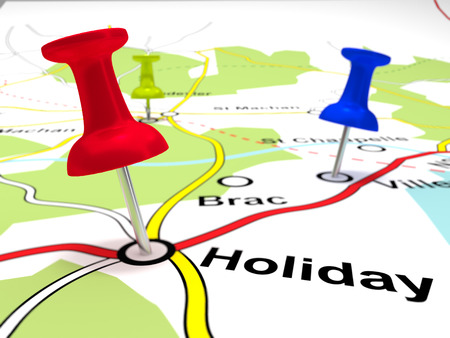 Pin Points on a map - A map with the place holiday pin pointed on a map.