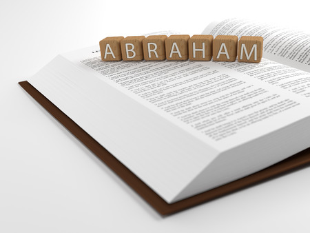 Abraham and the Bible - The word Abraham layed on the bible.