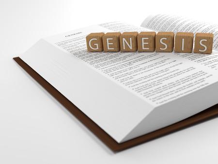 vangelo aperto: Genesi e la Bibbia - La parola genesi posato sulla parte superiore della Bibbia.