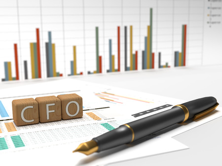 cfo: Chief Financial Officer - CFO - 3 wooden dice containing the letters CFO with charts on the background.