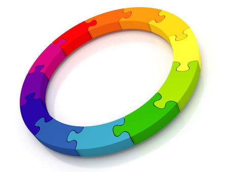 vida: Círculo de piezas de puzzle - Un círculo que contiene 12 piezas de puzzle de colores aislado de un fondo blanco