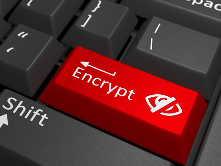 Encrypt key on keyboard - A red key with the text sell on a white keyboard combined with a invisible sign.