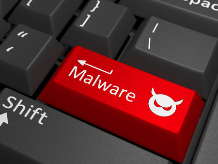 Malware key on keyboard - A red key with the text malware on a black keyboard combined with a threat sign. Stock Photo - 41781242