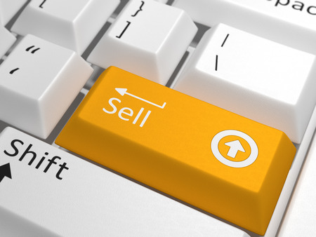 Sell key on keyboard - An orang key with the text sell on a white keyboard combined with a up sign.