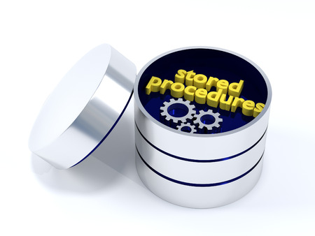 stored: Stored Procedures - A database containing the text stored procedures. Stock Photo