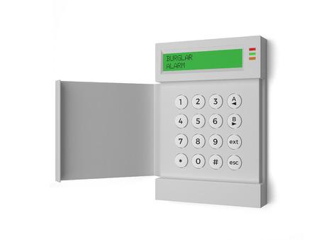 sistemas: Ladrón Luz de alarma - una alarma antirrobo aislado en un fondo blanco.
