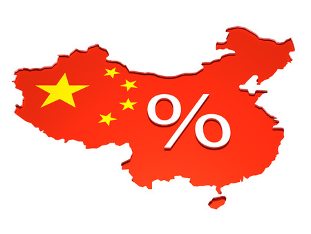 the republic of china: China percentage - Isolated map of the People Republic of China with the flag on it. A percentage sign is placed in the middle in 3D.