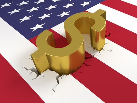 Dollar on crashed US Flag - Dollar sign laying on a united states of america flag. The flag is cracked