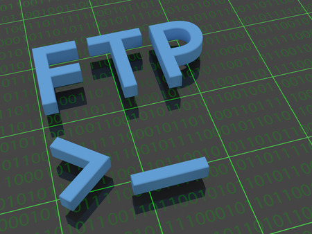 ftp: FTP - The letters FTP on a background filled with ones and zeros. Below the letters FTP a terminal cursor is shown. Stock Photo