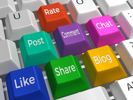 Social Media - A keyboard containing the colored keys: Like, Tweet, Comment, Share, Blog, Chat. Stock Photo - 42435307
