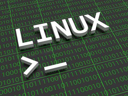 Linux - 背景に文字の Linux は、ものとゼロのでいっぱい。文字の下に Linux 端末のカーソルが表示されます。