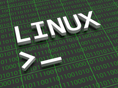 Linux - The letters Linux on a background filled with ones and zeros. Below the letters Linux a terminal cursor is shown. Stock Photo