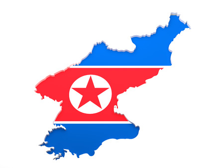 North Korea Map - The map of North Korea isolated on a white background. Stock Photo