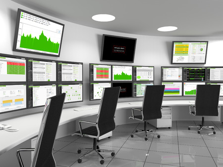 Security Operations Center - SOC containing monitors with statistics. A security operations center (SOC) is a centralized location that deals with security issues. A SOC is normally located within a building or facility. Staff supervises from here, the si Imagens - 42435306