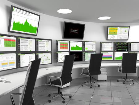 centro de computo: Seguridad Centro de Operaciones - monitores SOC contiene con estadísticas. Un centro de operaciones de seguridad (SOC) es una ubicación centralizada que se ocupa de los problemas de seguridad. Un SOC normalmente se encuentra dentro de un edificio o instalación. El personal supervisa de aquí, la IS Foto de archivo