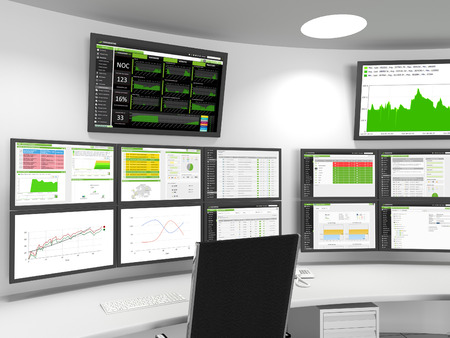 systems operations: NOC  SOC Close-up - A close-up of a Network or Security Operations Center. A set of monitors shows monitoring statistics. Stock Photo