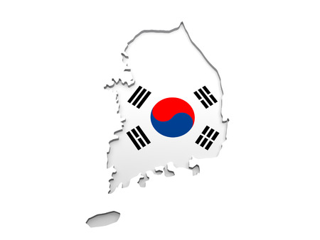 south asian: South Korea Map - The map of South Korea isolated on a white background.