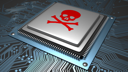 A hardware IC or chip with a skull on top of it. Illustrating malware or virus infection on hardware and device internals.
