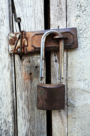 rusty,knob, lock, mystery, obsolete, old,wood,nails  photo