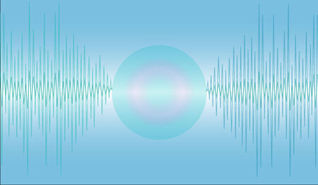 seemed: Sound waves that seemed to be sucked or swallowed up in a circle.on blue background Illustration