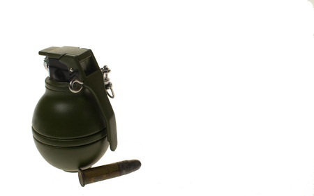 shrapnel: Hand Grenade and ammunition on white background,isolated cut out