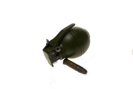 Hand Grenade and ammunition on white background,isolated cut out photo