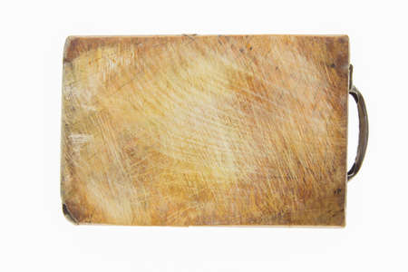 heavily: Old heavily used chopping board  handle . on white background