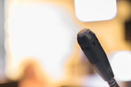 producer: TV studio microphone for producer. Stock Photo