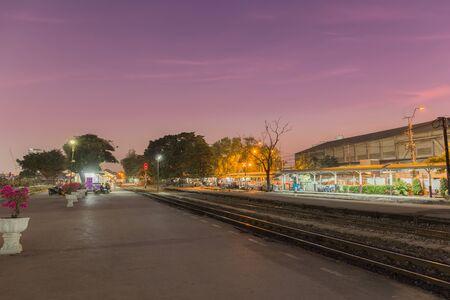 bangkok night: Passanger train station Stock Photo