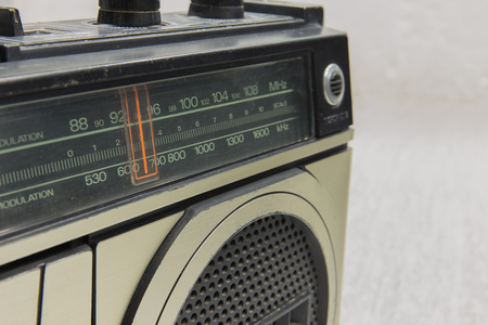 stereo cut: Frequency wave retro radio on background.