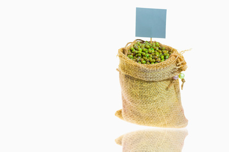 mung: Green beans in a sack and label ,On white background.